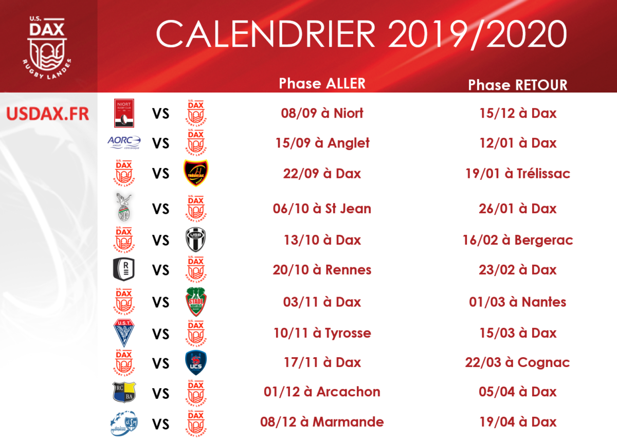 Calendrier 2020 Rugby.Calendrier 2019 2020 U S Dax Rugby